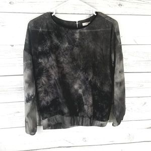 ⚡Forever21 Black Acid Wash Long Sleeve Top Small